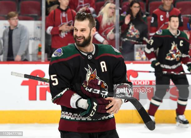 Brad Richardson of the Arizona Coyotes smiles during warmups prior to a game against the Los Angeles Kings at Gila River Arena on March 9, 2019 in...