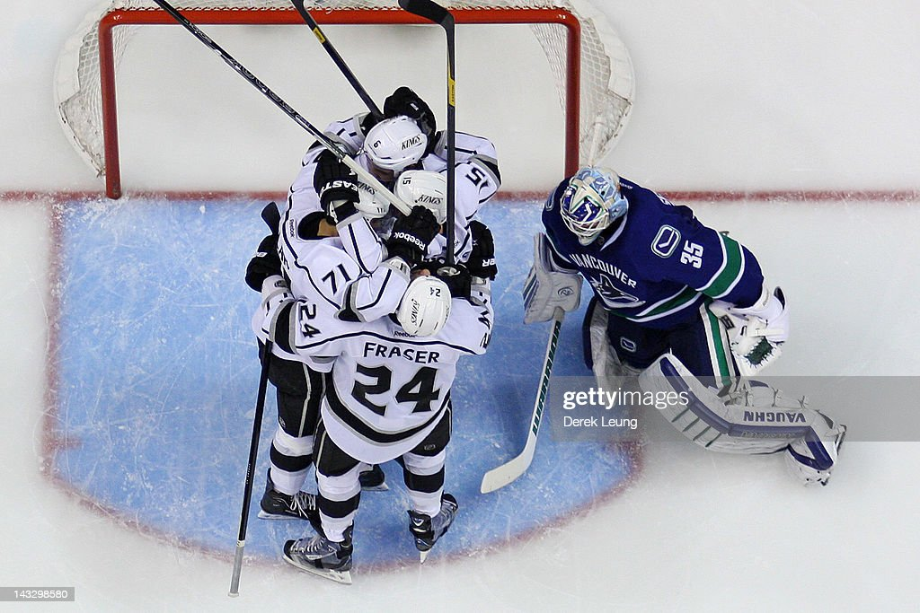 Brad Richardson #15 of the Los Angeles Kings celebrates after he scored on Cory Schneider #35 of the Vancouver Canucks at 3:21 of the third period in Game Five of the Western Conference Quarterfinals during the 2012 NHL Stanley Cup Playoffs at Rogers Arena on April, 22, 2012 in Vancouver, British Columbia, Canada.