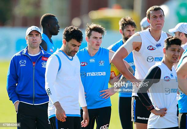 Brad Scott coach of the Kangaroos looks on during a North Melbourne Kangaroos AFL training session at Arden Street Ground on July 8 2015 in Melbourne...