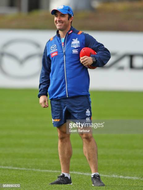 Brad Scott coach of the Kangaroos looks on during a North Melbourne Kangaroos AFL training session at Arden Street Ground on May 16 2018 in Melbourne...