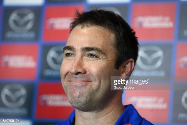 Brad Scott coach of the Kangaroos speaks to the media during a North Melbourne Kangaroos AFL press conference at the Arden Street Ground on August 30...