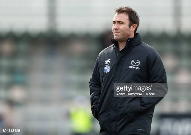 Brad Scott Senior Coach of the Kangaroos looks on during the 2017 AFL round 19 match between the North Melbourne Kangaroos and the Melbourne Demons...