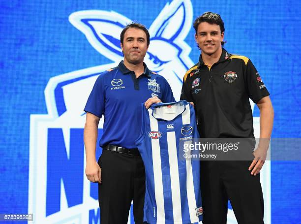 Brad Scott the coach of the Kangaroos poses with Luke DaviesUniacke during the 2017 AFL Draft at Sydney Showgrounds on November 24 2017 in Sydney...