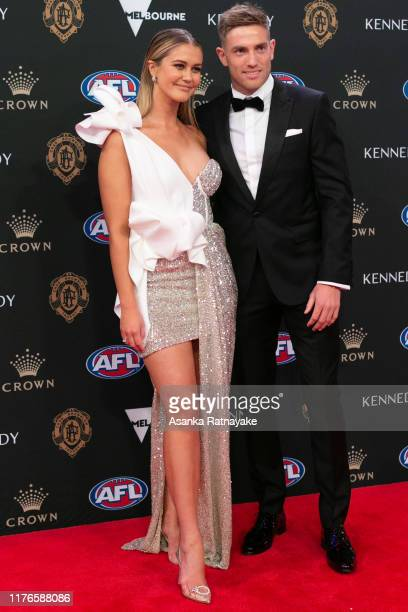 Brad Sheppard of the Eagles and his partner ScherriLee Biggs arrives ahead of the 2019 Brownlow Medal at Crown Palladium on September 23 2019 in...