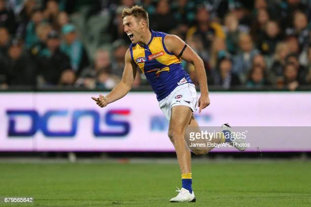 Brad Sheppard of the Eagles celebrates a goal during the 2017 AFL round 07 match between Port Adelaide Power and the West Coast Eagles at the...