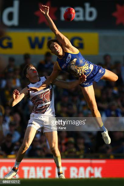 Brad Sheppard of the Eagles contests a mark against Jeremy Cameron of the Giants during the round 10 AFL match between the West Coast Eagles and the...