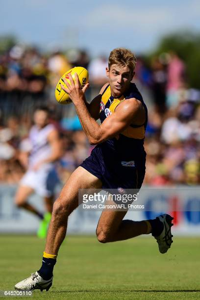 Brad Sheppard of the Eagles in action during the AFL 2017 JLT Community Series match between the West Coast Eagles and the Fremantle Dockers at...