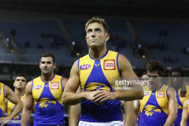 Brad Sheppard of the Eagles looks dejected as he leads off his team after losing the round four AFL match between the St Kilda Saints and the West...