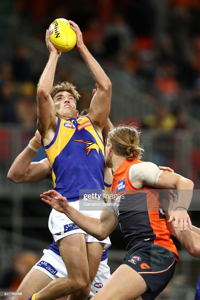 Brad Sheppard of the Eagles marks during the AFL First Semi Final match between the Greater Western Sydney Giants and the West Coast Eagles at Spotless Stadium on September 16, 2017 in Sydney, Australia.