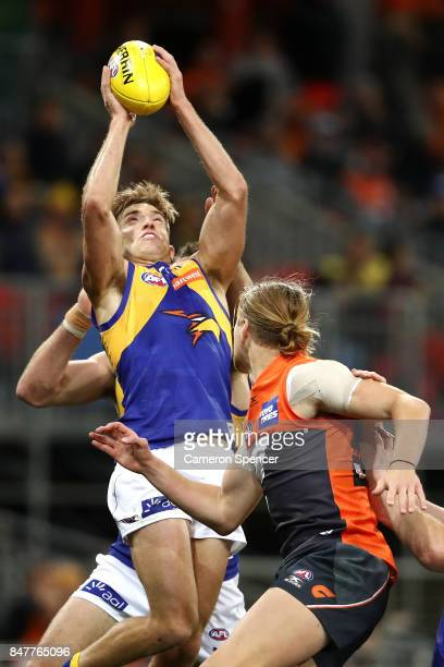 Brad Sheppard of the Eagles marks during the AFL First Semi Final match between the Greater Western Sydney Giants and the West Coast Eagles at...