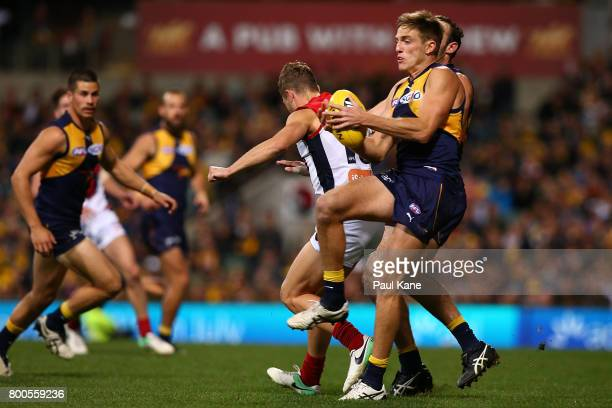 Brad Sheppard of the Eagles marks the ball during the round 14 AFL match between the West Coast Eagles and the Melbourne Demons at Domain Stadium on...
