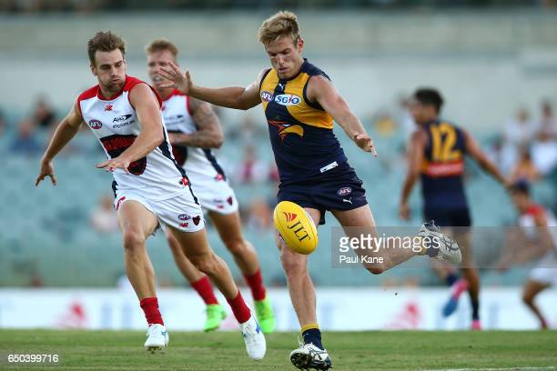 Brad Sheppard of the Eagles passes the ball during the JLT Community Series AFL match between the West Coast Eagles and the Melbourne Demons at...