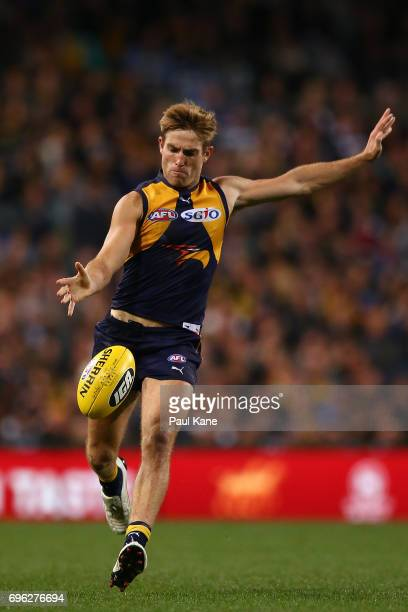 Brad Sheppard of the Eagles passes the ball during the round 13 AFL match between the West Coast Eagles and the Geelong Cats at Domain Stadium on...