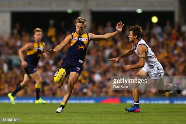 Brad Sheppard of the Eagles passes the ball during the round six AFL match between the West Coast Eagles and the Fremantle Dockers at Domain Stadium...