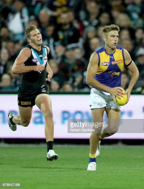 Brad Sheppard of the Eagles runs with the ball during the round seven AFL match between the Port Adelaide Power and the West Coast Eagles at Adelaide...