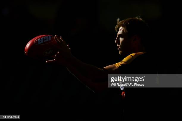 Brad Sheppard of the Eagles warms up before during the round 16 AFL match between the West Coast Eagles and the Port Adelaide Power at Domain Stadium...