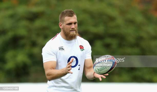 Brad Shields catches the ball during the England captain's run at Pennyhill Park on November 9 2018 in Bagshot England