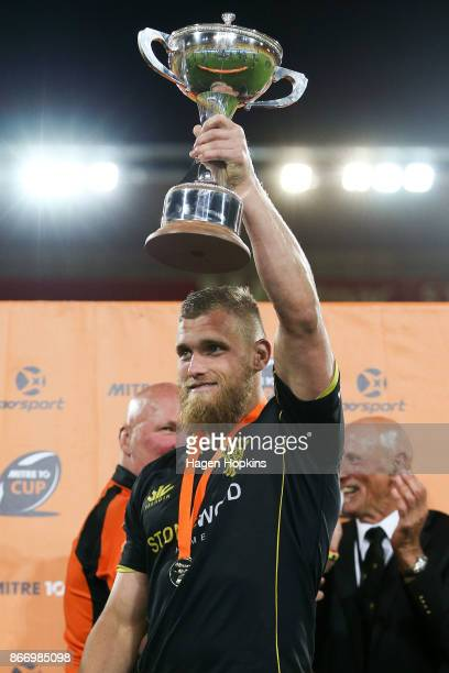 Brad Shields of Wellington holds the Championship Cup during the Mitre 10 Cup Championship Final match between Wellington and Bay of Plenty at...
