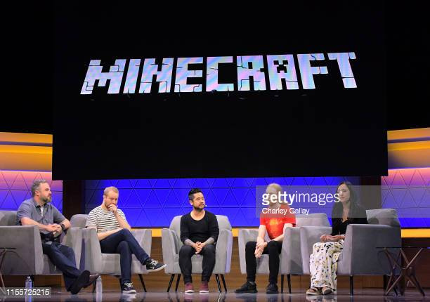 Brad Shuber Mans Olsen Patrick Liu Jens Bergensten and Rebecca Gordius speak onstage at the 'Minecraft The Next Ten Years' panel during E3 2019 at...