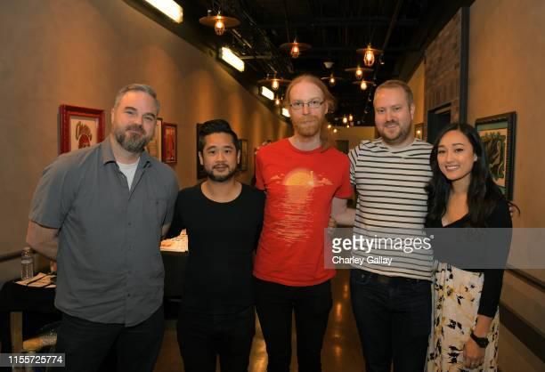Brad Shuber Patrick Liu Jens Bergensten Mans Olsen and Rebecca Gordius attend the 'Minecraft The Next Ten Years' panel during E3 2019 at the Novo...