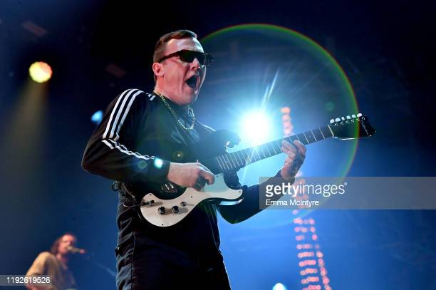 Brad Shultz of Cage the Elephant performs onstage during KROQ Absolut Almost Acoustic Christmas 2019 at Honda Center on December 07, 2019 in Anaheim,...