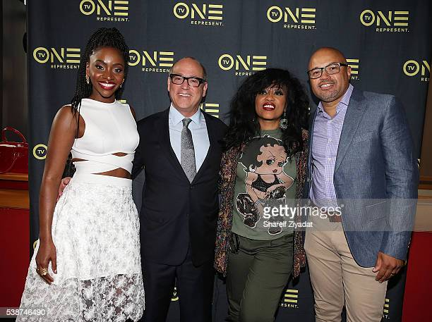 Brad Siegel Teyonah Parris Miki Howard and Jubba Seyyid at Love Under New Management The Miki Howard Story at AMC Empire on June 7 2016 in New York...
