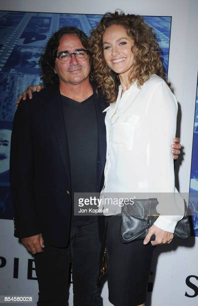 Brad Silberling and Amy Brenneman arrive at the HBO Premiere 'Spielberg' at Paramount Studios on September 26 2017 in Hollywood California