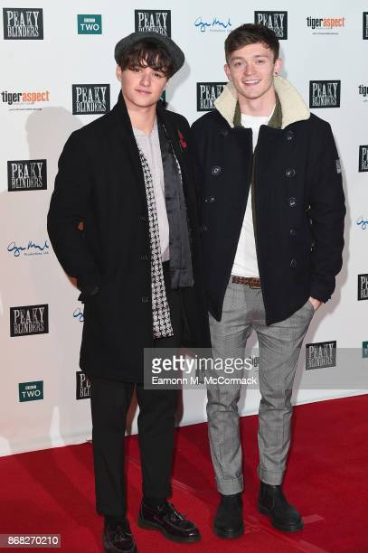 Brad Simpson and Conor Ball of The Vamp attend the Birmingham Premiere of Peaky Blinders at cineworld on October 30 2017 in Birmingham England