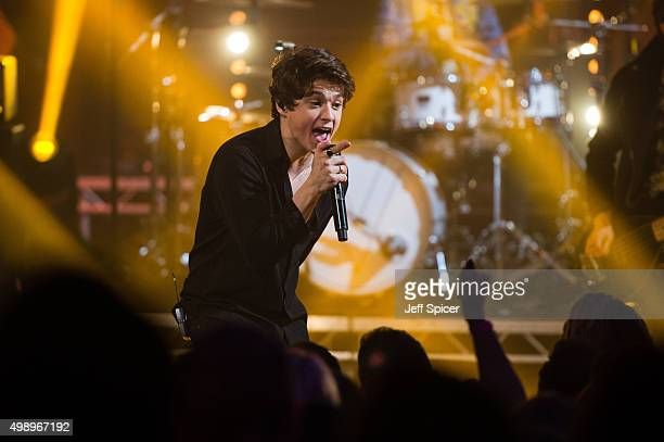 Brad Simpson from The Vamps during a live broadcast of 'TFI Friday' on November 27 2015 in London England