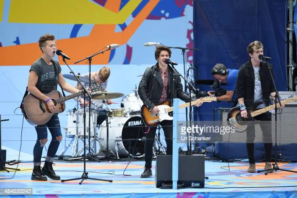Brad Simpson James McVey Connor Ball and Tristan Evans of The Vamps perform during the 2014 Arthur Ashe Kids' Day at USTA Billie Jean King National...