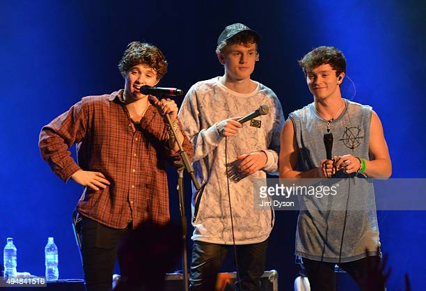 Brad Simpson Tristan Evans and Connor Ball of The Vamps speak live on stage during a fanfest ahead of the launch of their new album at Indigo2 at The...