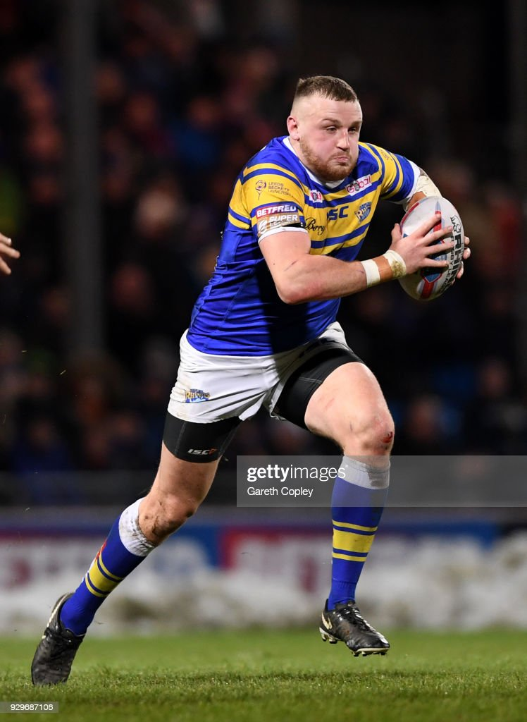 Brad Singleton of Leeds during the Betfred Super League match between Leeds Rhinos and Hull FC at Headingley Stadium on March 8, 2018 in Leeds, England.