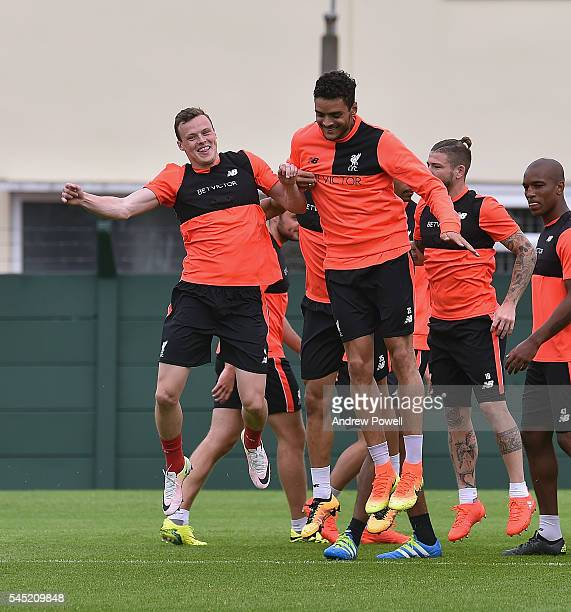 Brad Smith and Tiago Ilori of Liverpool during a training session at Melwood Training Ground on July 6 2016 in Liverpool England