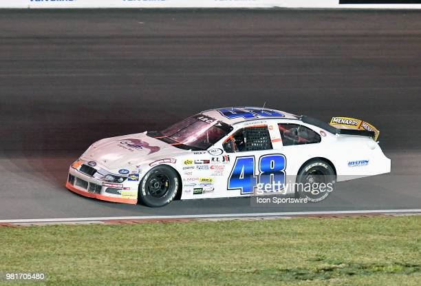 Brad Smith of Shelby Township MI driving a Ford for Smith Brothers Racing on the first turn during the ARCA Racing Series PapaNicholas Coffee 150 on...