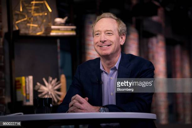 Brad Smith president and chief legal council for Microsoft Corp smiles during a Bloomberg Technology television interview in San Francisco California...