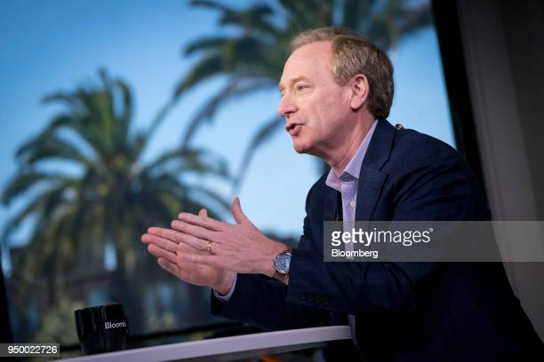 Brad Smith president and chief legal council for Microsoft Corp speaks during a Bloomberg Technology television interview in San Francisco California...