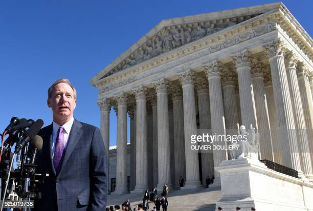Brad Smith President and Chief Legal Officer of Microsoft speaks during a press conference following oral arguments at the Supreme Court on US vs...
