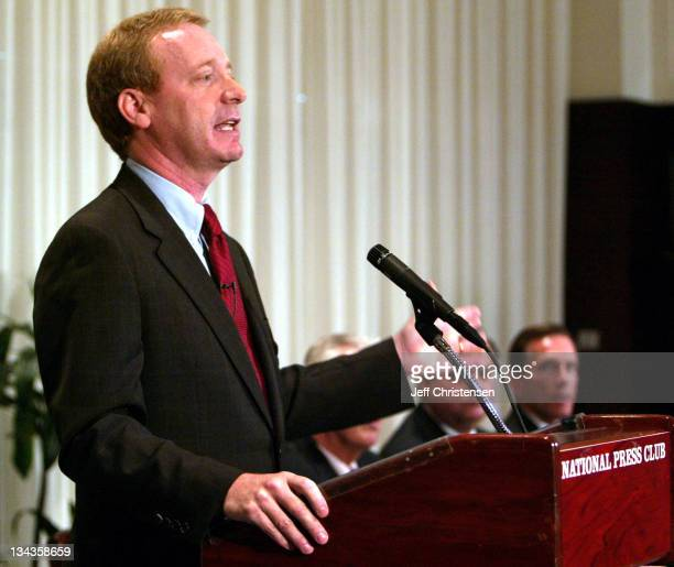 Brad Smith senior vice president and general counsel at Microsoft talks to reporters during a news conference to announced the creation of the...