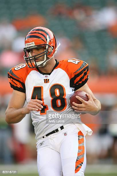 Brad St Louis of the Cincinnati Bengals warms up before the NFL game against the Detroit Lions at Paul Brown Stadium on August 17 2008 in Cincinnati...