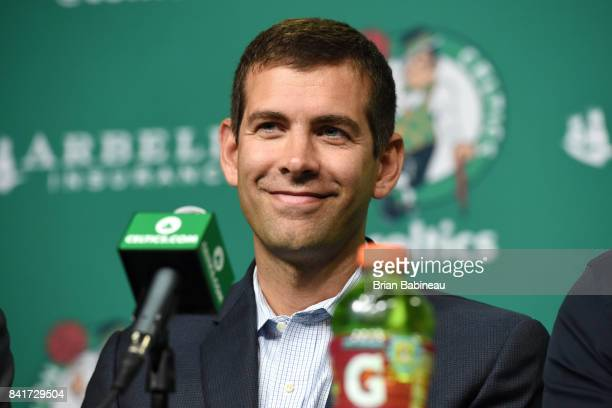 Brad Stevens looks on as Kyrie Irving and Gordon Hayward get introduced as Boston Celtics on September 1 2017 at the TD Garden in Boston...