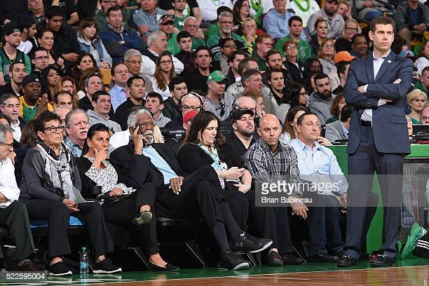 Brad Stevens of the Boston Celtics coaches while NBA Legend Bill Russell looks on during the game against the Miami Heat on April 13 2016 at the TD...
