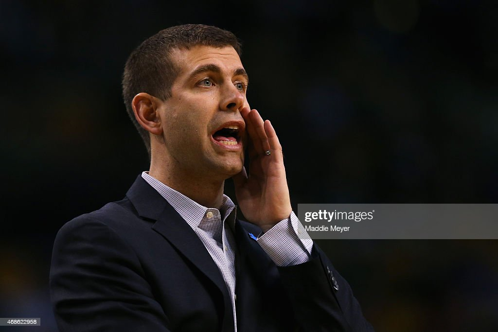Brad Stevens of the Boston Celtics directs his team during the first quarter against the Indiana Pacers at TD Garden on April 1, 2015 in Boston, Massachusetts.