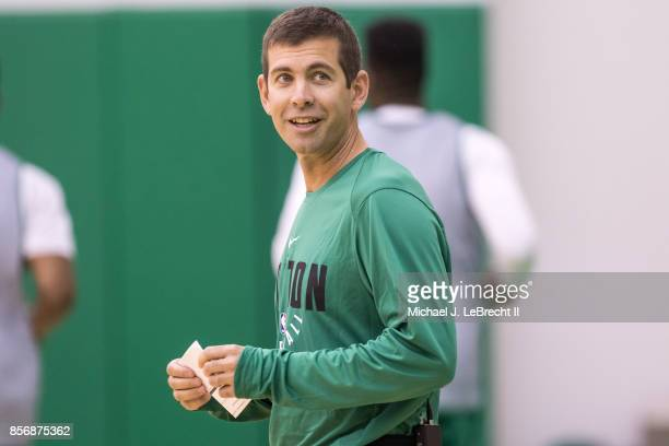 Brad Stevens of the Boston Celtics looks on during open practice on September 29 2017 at the Boston Celtics practice facility in Waltham...