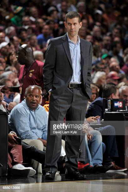 Brad Stevens of the Boston Celtics looks on during the game against the Cleveland Cavaliers in Game Four of the Eastern Conference Finals of the 2017...