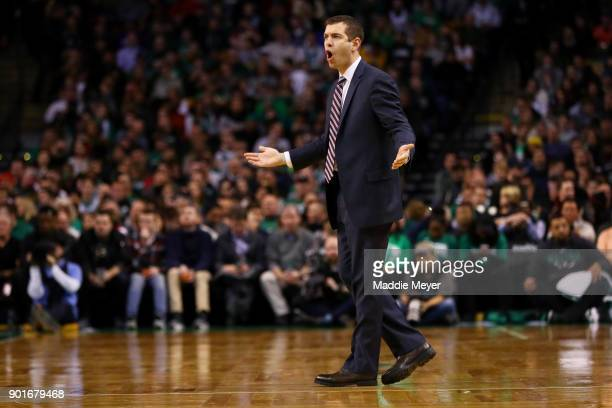 Brad Stevens of the Boston Celtics reacts to a call during the second half against the Minnesota Timberwolves at TD Garden on January 5 2018 in...
