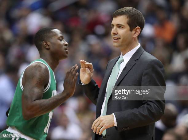 Brad Stevens of the Boston Celtics reacts with Terry Rozier against the Washington Wizards during Game Six of the NBA Eastern Conference SemiFinals...