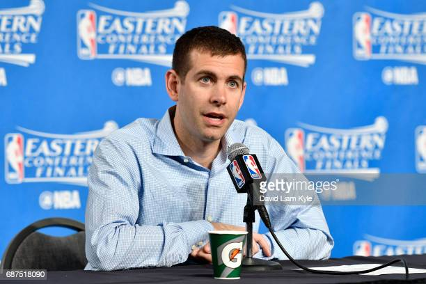 Brad Stevens of the Boston Celtics talks with the press after the game against the Cleveland Cavaliers in Game Four of the Eastern Conference Finals...