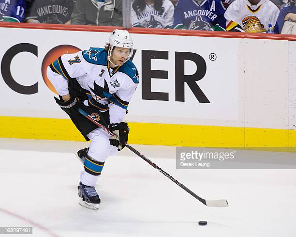 Brad Stuart of the San Jose Sharks skates against the Vancouver Canucks in Game Two of the Western Conference Quarterfinals during the 2013 NHL...