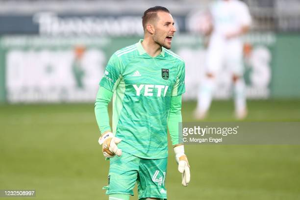 Brad Stuver of Austin FC reacts against the Colorado Rapids during the first half at Dick's Sporting Goods Park on April 24, 2021 in Commerce City,...