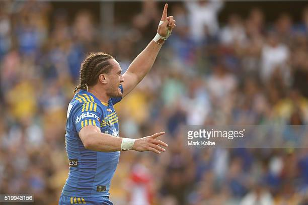 Brad Takairangi of the Eels celebrates scoring a try during the round six NRL match between the Parramatta Eels and the Canberra Raiders at Pirtek...